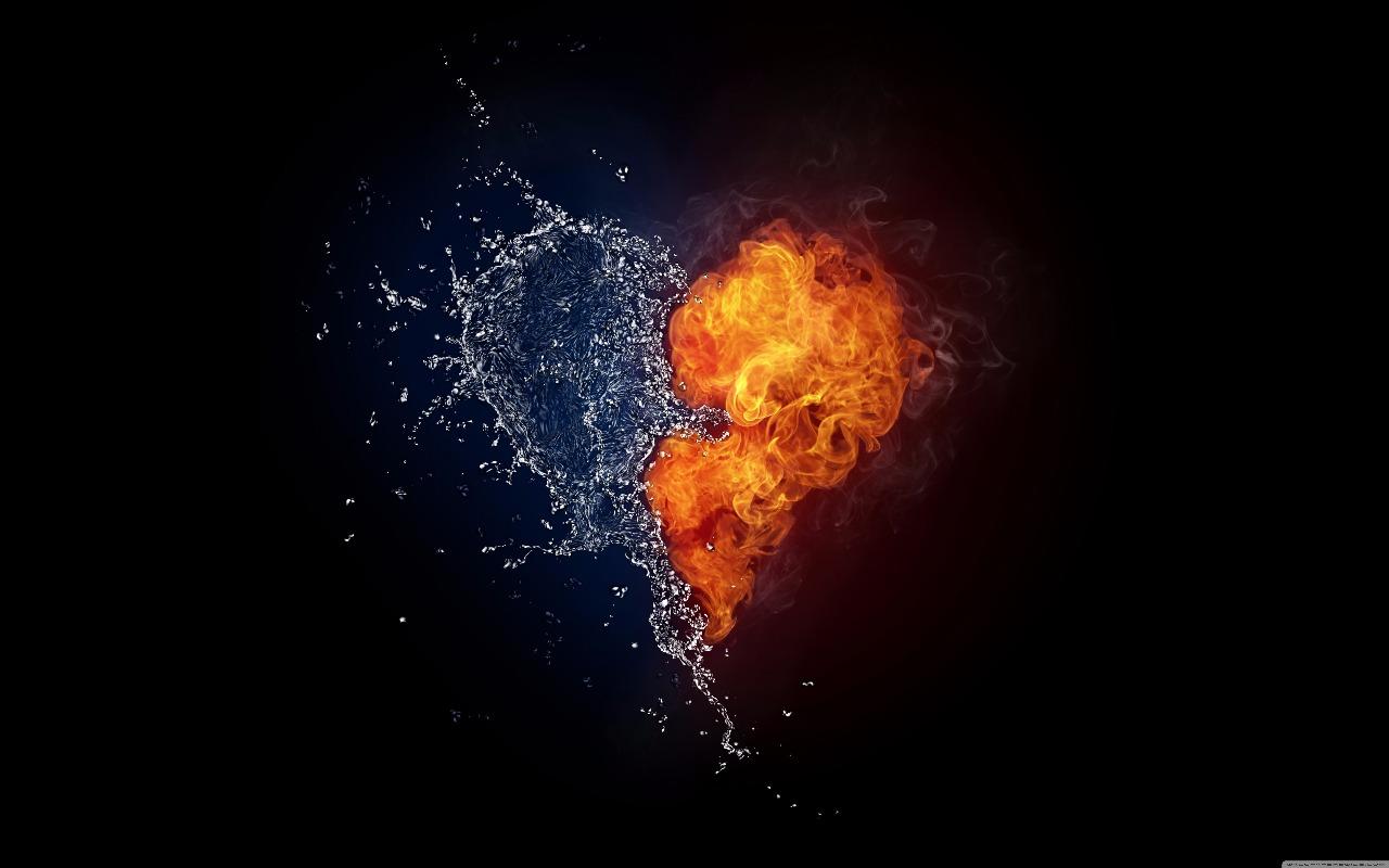 foto coração fogo